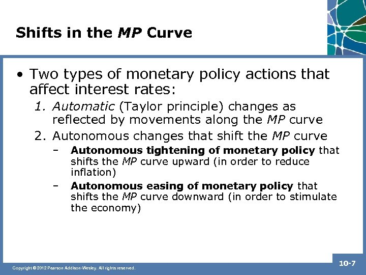 Shifts in the MP Curve • Two types of monetary policy actions that affect