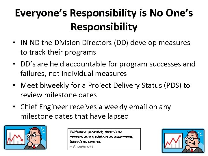 Everyone's Responsibility is No One's Responsibility • IN ND the Division Directors (DD) develop