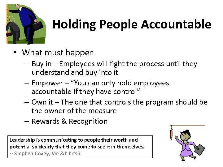 Holding People Accountable • What must happen – Buy in – Employees will fight