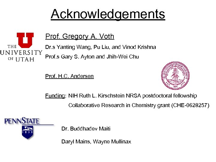 Acknowledgements Prof. Gregory A. Voth Dr. s Yanting Wang, Pu Liu, and Vinod Krishna