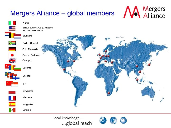 Mergers Alliance – global members Aurea Billow Butler & Co (Chicago) Brocair (New York)