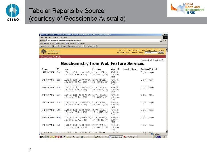 Tabular Reports by Source (courtesy of Geoscience Australia) 13