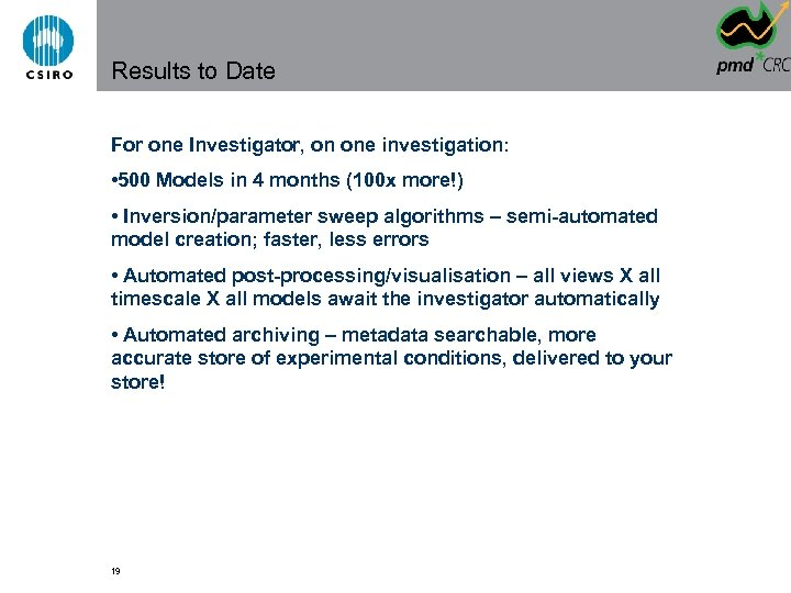 Results to Date For one Investigator, on one investigation: • 500 Models in 4