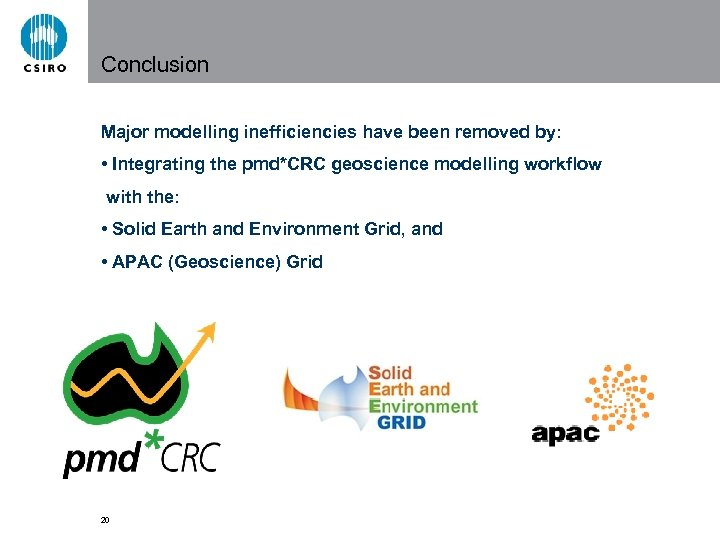 Conclusion Major modelling inefficiencies have been removed by: • Integrating the pmd*CRC geoscience modelling