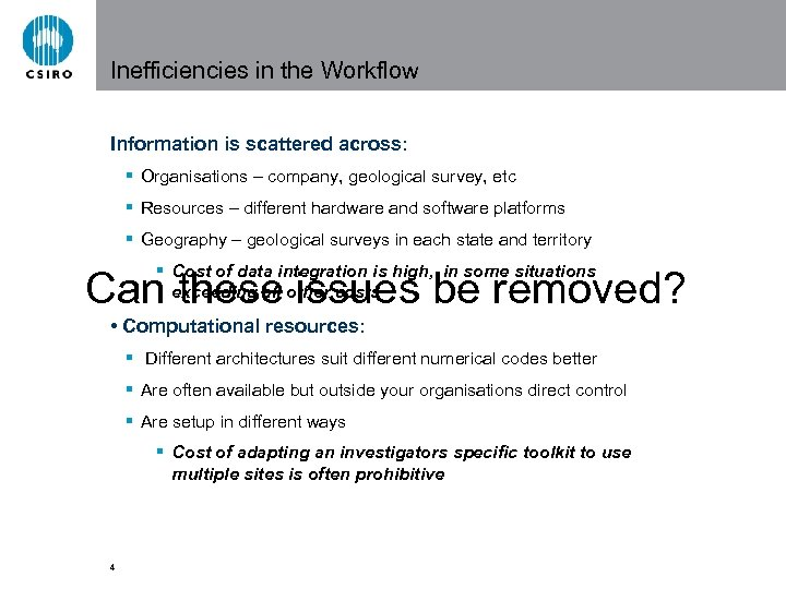 Inefficiencies in the Workflow Information is scattered across: § Organisations – company, geological survey,