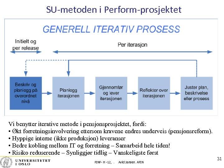 SU-metoden i Perform-prosjektet Vi benytter iterative metode i pensjonsprosjektet, fordi: • Økt forretningsinvolvering ettersom