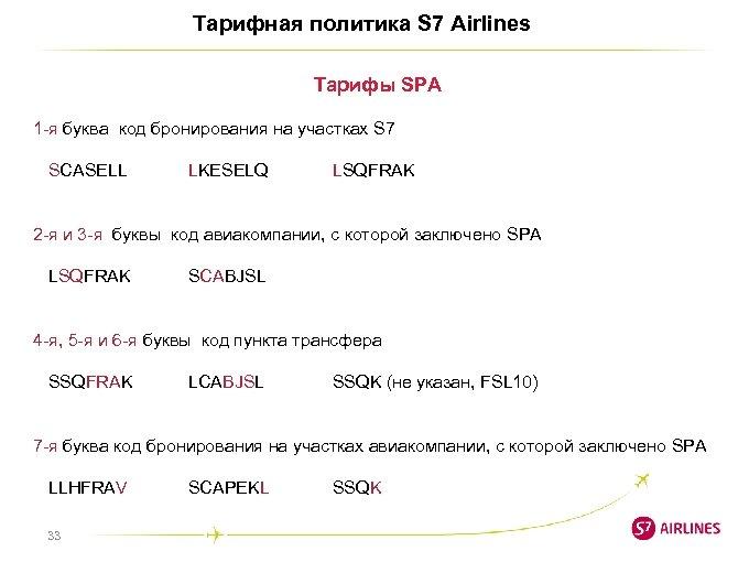 Тарифная политика S 7 Airlines Тарифы SPA 1 -я буква код бронирования на участках