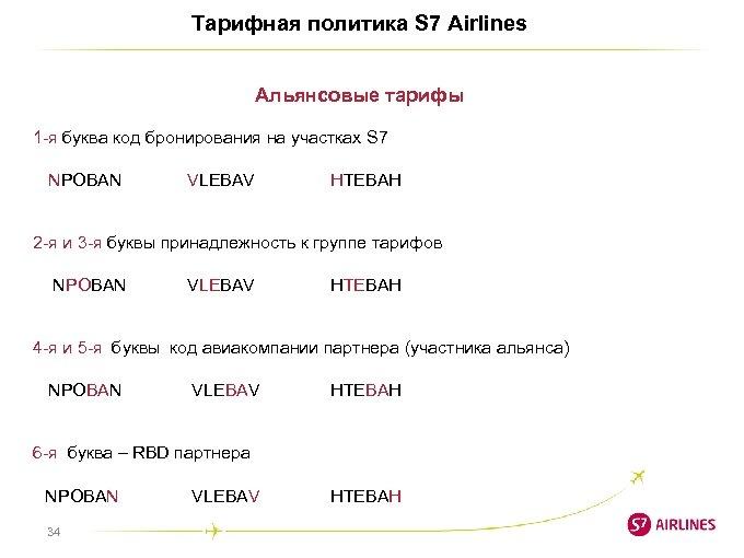 Тарифная политика S 7 Airlines Альянсовые тарифы 1 -я буква код бронирования на участках