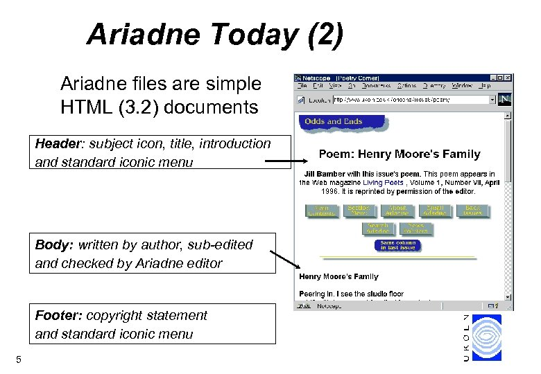 Ariadne Today (2) Ariadne files are simple HTML (3. 2) documents Header: subject icon,