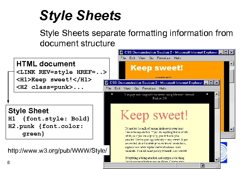 Style Sheets separate formatting information from document structure HTML document <LINK REV=style HREF=. .