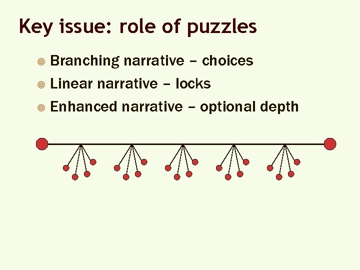 Key issue: role of puzzles Branching narrative – choices ¥ Linear narrative – locks