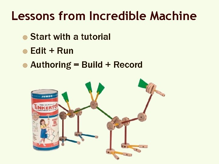 Lessons from Incredible Machine Start with a tutorial ¥ Edit + Run ¥ Authoring