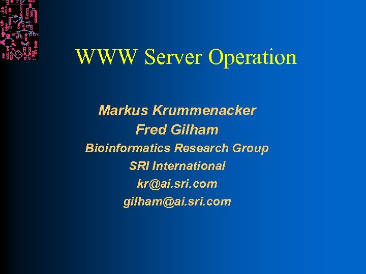 WWW Server Operation Markus Krummenacker Fred Gilham Bioinformatics Research Group SRI International kr@ai. sri.