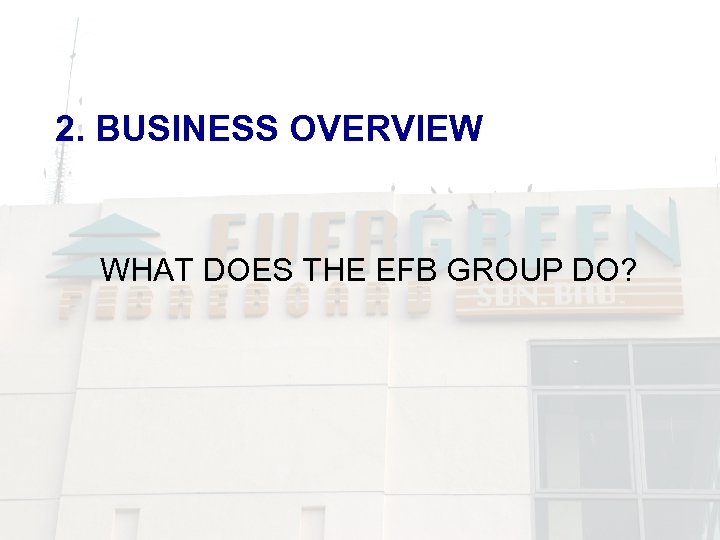 2. BUSINESS OVERVIEW WHAT DOES THE EFB GROUP DO?