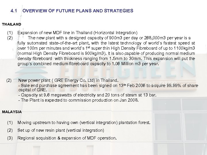 4. 1 OVERVIEW OF FUTURE PLANS AND STRATEGIES THAILAND (1) (2) Expansion of new