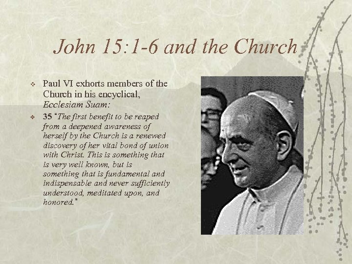 John 15: 1 -6 and the Church v Paul VI exhorts members of the