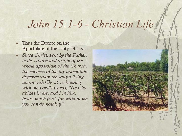 John 15: 1 -6 - Christian Life v v Thus the Decree on the