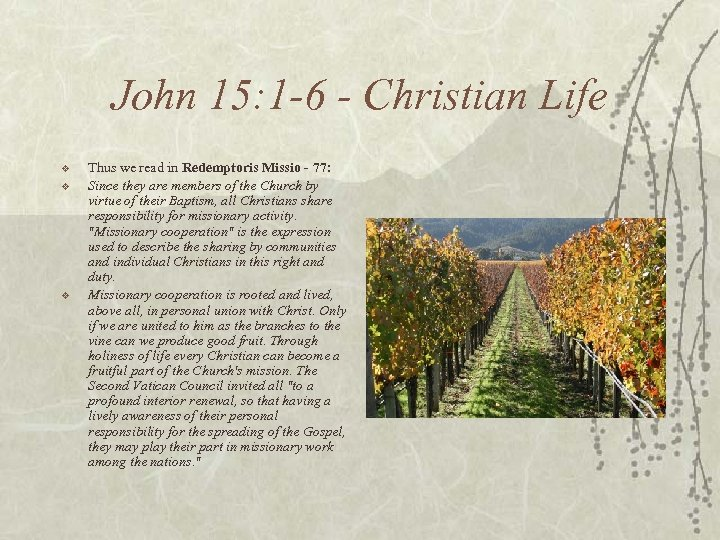 John 15: 1 -6 - Christian Life v v v Thus we read in
