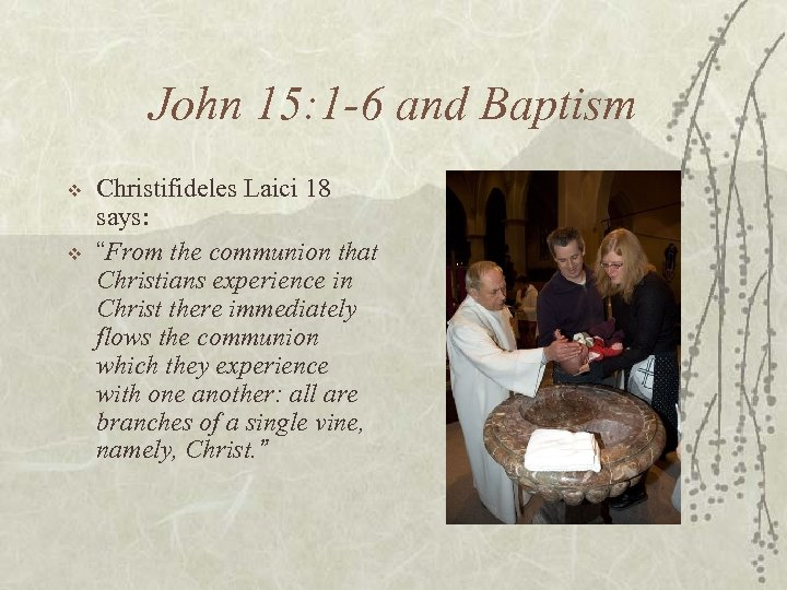 "John 15: 1 -6 and Baptism v v Christifideles Laici 18 says: ""From the"