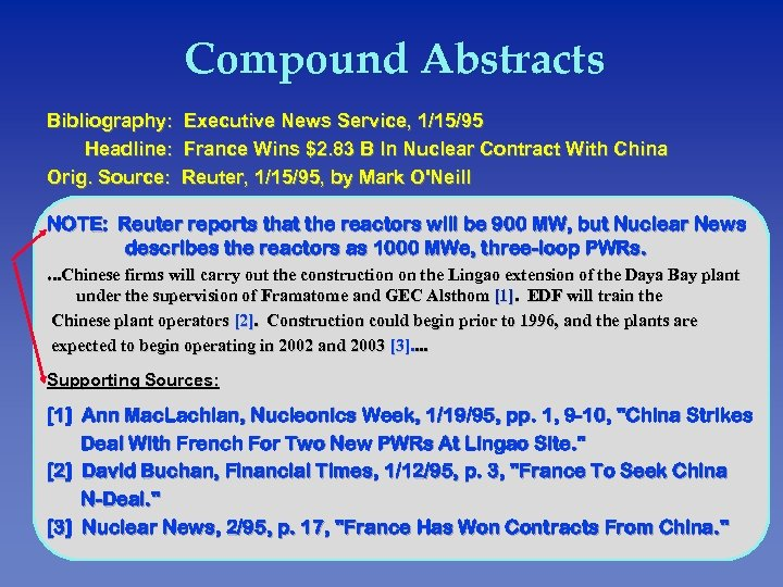 Compound Abstracts Bibliography: Executive News Service, 1/15/95 Headline: France Wins $2. 83 B ln