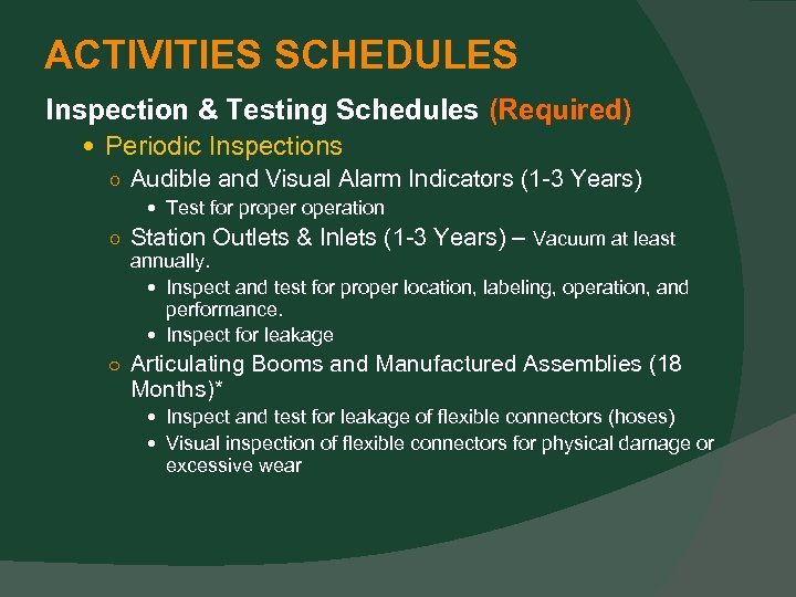 ACTIVITIES SCHEDULES Inspection & Testing Schedules (Required) Periodic Inspections ○ Audible and Visual Alarm