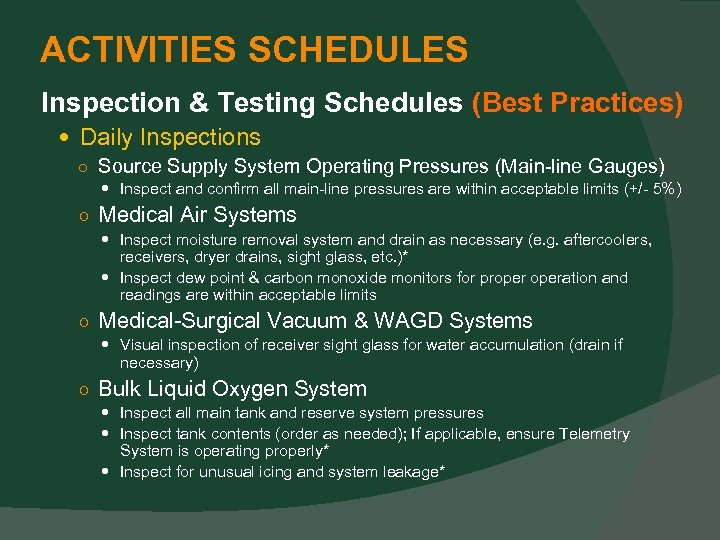 ACTIVITIES SCHEDULES Inspection & Testing Schedules (Best Practices) Daily Inspections ○ Source Supply System