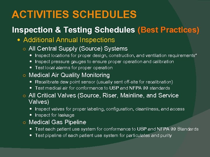 ACTIVITIES SCHEDULES Inspection & Testing Schedules (Best Practices) Additional Annual Inspections ○ All Central