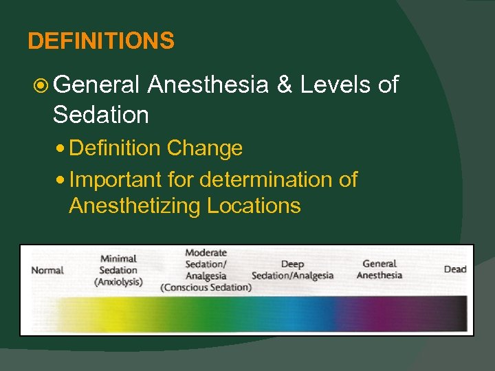 DEFINITIONS General Anesthesia & Levels of Sedation Definition Change Important for determination of Anesthetizing