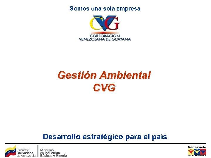 Somos una sola empresa Gestión Ambiental CVG Desarrollo estratégico para el país