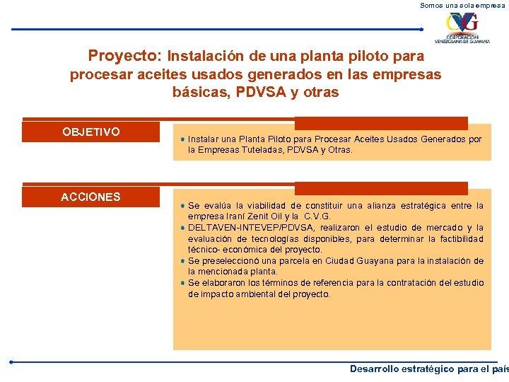 Somos una sola empresa Proyecto: Instalación de una planta piloto para procesar aceites usados