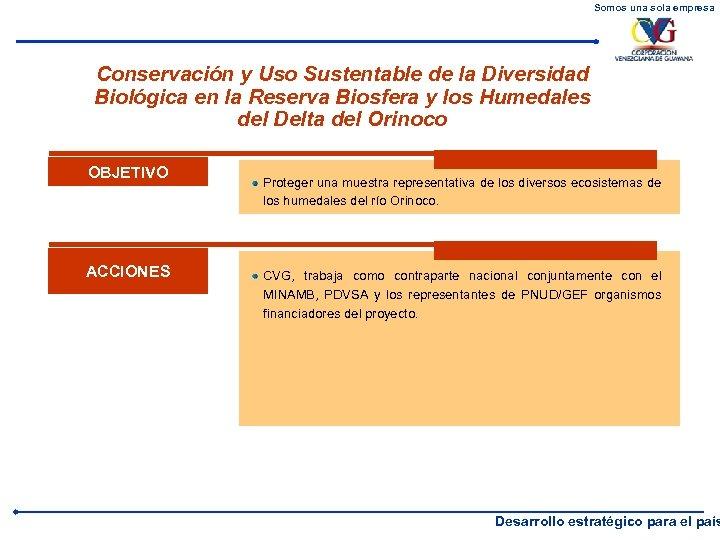 Somos una sola empresa Conservación y Uso Sustentable de la Diversidad Biológica en la