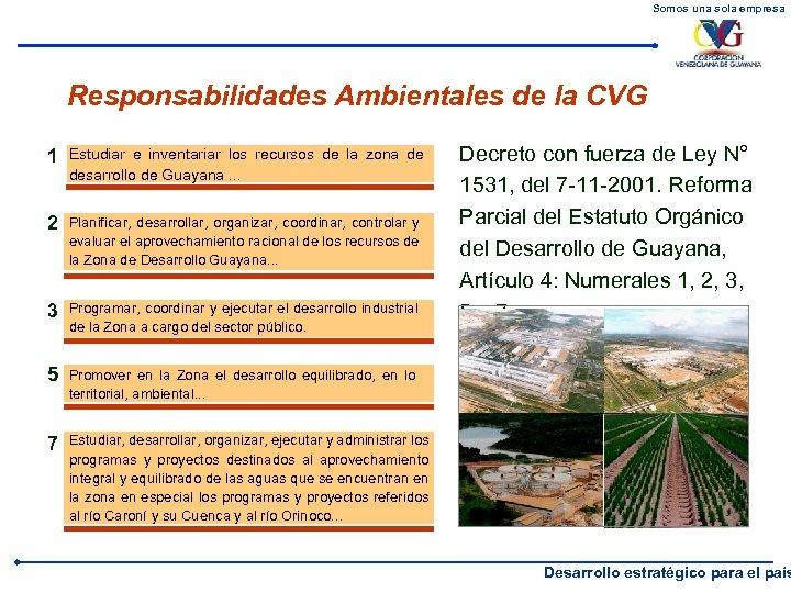 Somos una sola empresa Responsabilidades Ambientales de la CVG 1 Estudiar e inventariar los