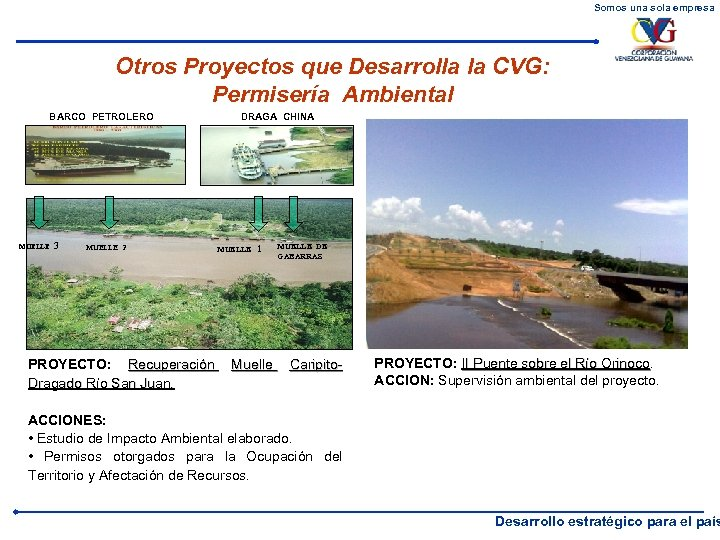 Somos una sola empresa Otros Proyectos que Desarrolla la CVG: Permisería Ambiental BARCO PETROLERO