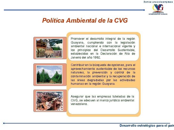 Somos una sola empresa Política Ambiental de la CVG Promover el desarrollo integral de