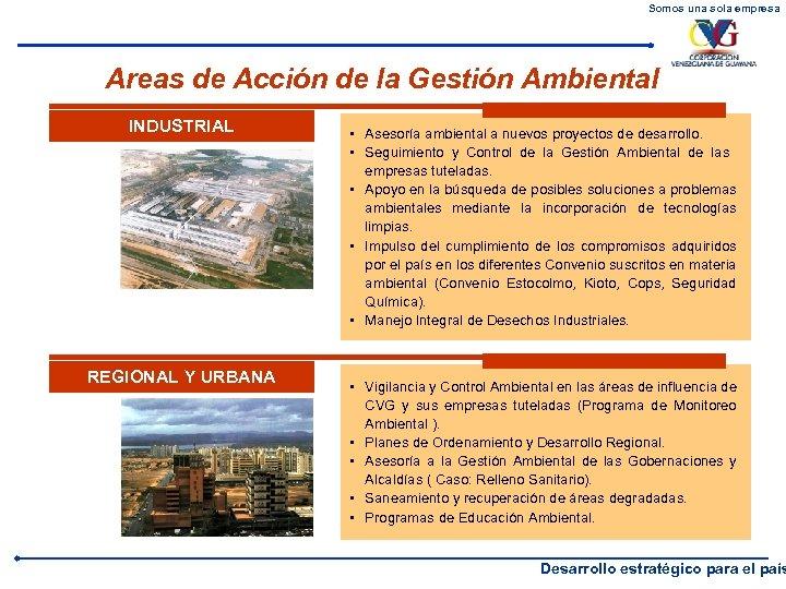 Somos una sola empresa Areas de Acción de la Gestión Ambiental INDUSTRIAL REGIONAL Y