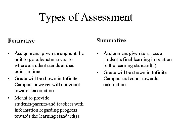 Types of Assessment Formative Summative • Assignments given throughout the unit to get a