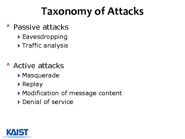 Taxonomy of Attacks ^ Passive attacks 4 Eavesdropping 4 Traffic analysis ^ Active attacks