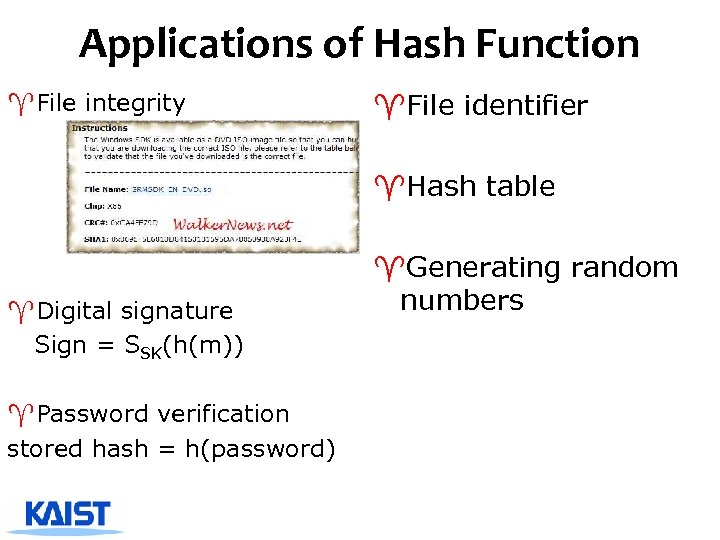 Applications of Hash Function ^File integrity ^File identifier ^Hash table ^Digital signature Sign =