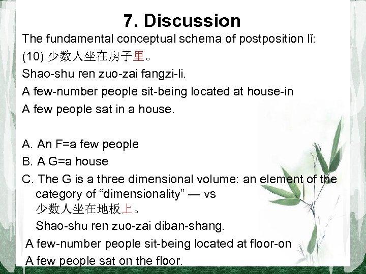 7. Discussion The fundamental conceptual schema of postposition lǐ: (10) 少数人坐在房子里。 Shao-shu ren zuo-zai