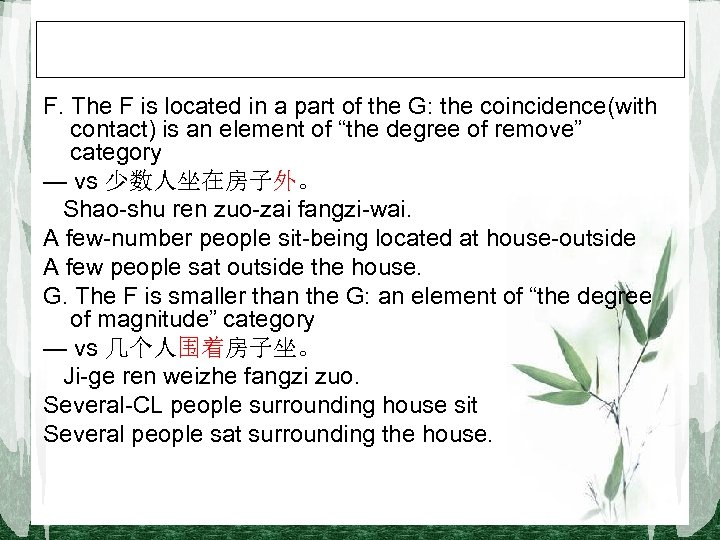 F. The F is located in a part of the G: the coincidence(with contact)