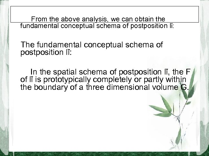 From the above analysis, we can obtain the fundamental conceptual schema of postposition