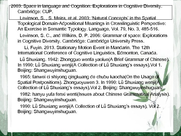 2003: Space in language and Cognition: Explorations in Cognitive Diversity. Cambridge: CUP.   Levinson, S.