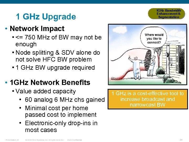 1 GHz Upgrade 1 GHz Bandwidth Enhancement & Segmentation • Network Impact • <=