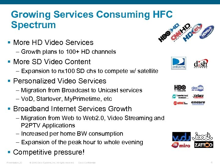 Growing Services Consuming HFC Spectrum § More HD Video Services – Growth plans to