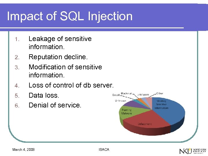 Impact of SQL Injection 1. 2. 3. 4. 5. 6. Leakage of sensitive information.