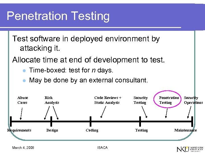 Penetration Testing Test software in deployed environment by attacking it. Allocate time at end