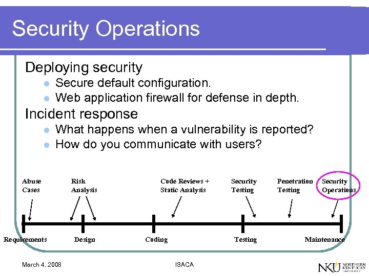 Security Operations Deploying security l l Secure default configuration. Web application firewall for defense