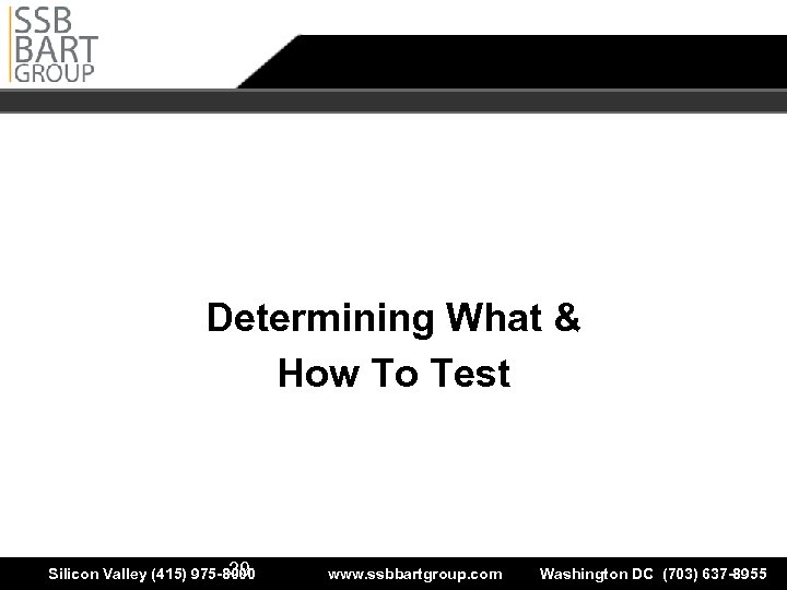 Determining What & How to Test Determining What & How To Test The leader