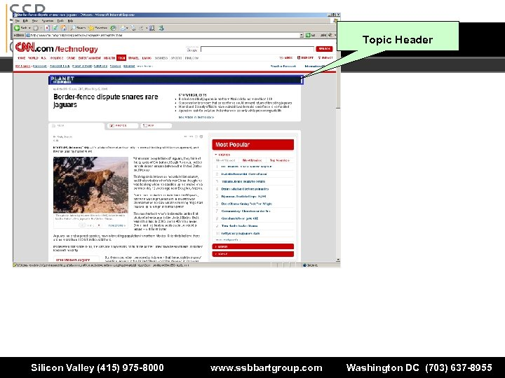 Topic Header Silicon Valley (415) 975 -8000 www. ssbbartgroup. com Washington DC (703) 637