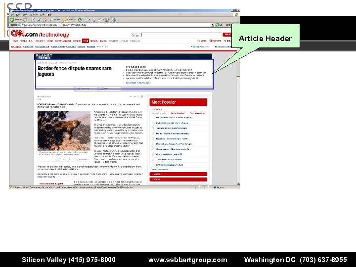 Article Header Silicon Valley (415) 975 -8000 www. ssbbartgroup. com Washington DC (703) 637